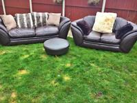 Contemporary leather sofa suite brown leather. Can deliver for free