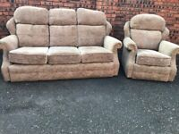G Plan fabric suite, three seater sofa, couch, settee, single chair (free local delivery)