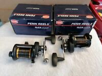 2x PENN super mag EXTRA fishing reels in as new condition very sought after