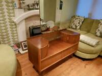Vintage Retro Dressing Table with Mirror Teak Style Danish Inspired 2 Drawers TV Stand Unit