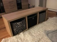 Wooden storage unit with three boxes