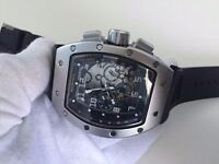 New Richard Mille See Through back Automatic Watch, RUBBER STRAP