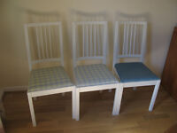 3 IKEA white dining chairs