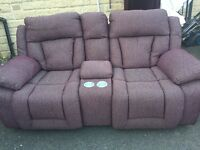 Purple recliner 3 & 2 seat sofas settee couch