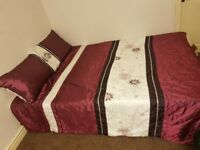 As new double duvet set 1 duvet cover and 2 pillow case purple and cream
