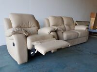 CREAM BEIGE LEATHER 2 SEATER SOFA SETTEE & RECLINER CHAIR ARMCHAIR LOUNGE SUITE DELIVERY AVAILABLE