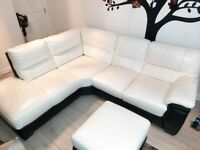 DFS White Leather Sofa with Swivel Chair, Half Moon Footstool and Storage Footstool