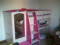 Pink and Wood Stompa Mid Sleeper Bed with Wardrobe and Desk, Mirror and Cupboard