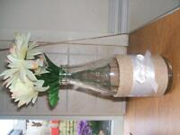 vintage milk bottle handcrafted into pretty vase with fake flowers gift