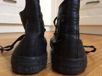 Converse Hi-Tops, Black Leather, UK Size 4.5