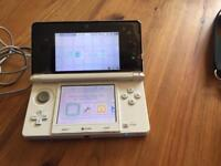 Nintendo 3ds (white), charger, case, bag, earphones & 1 game