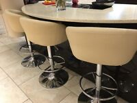 3 faux cream leather breakfast bar stools, excellent condition!