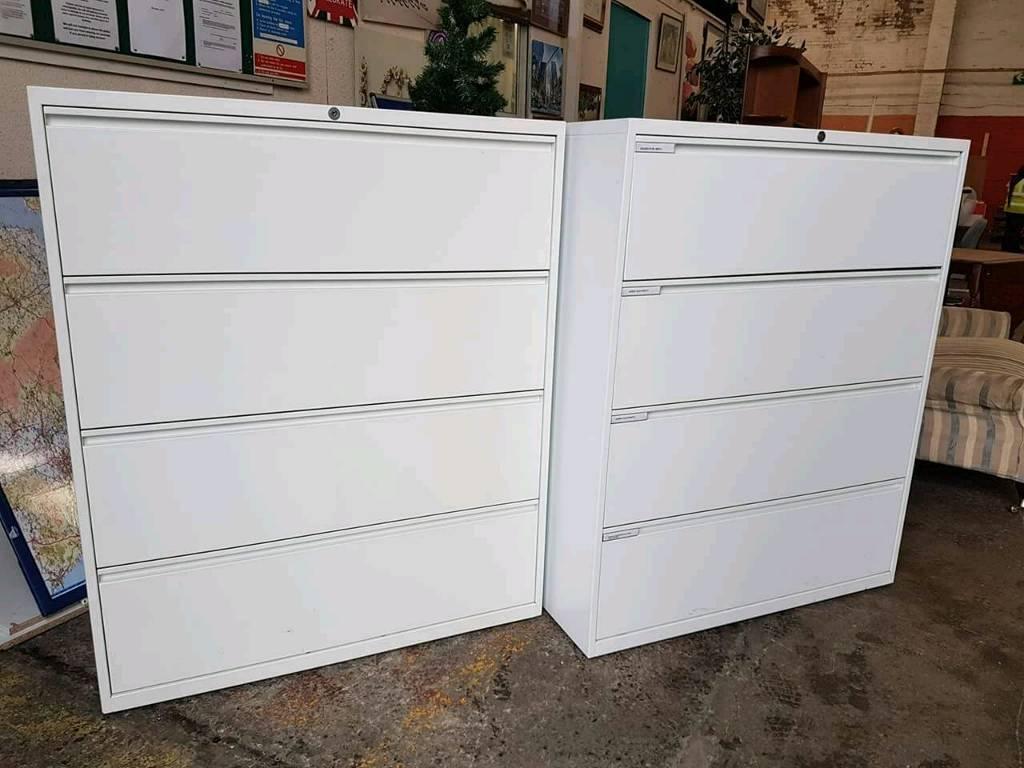 Herman Miller Large 4 Drawer Lateral Filing Cabinets