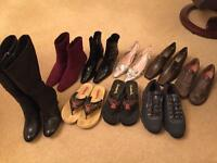 9 pairs of ladies UK size 6 shoes either new or almost