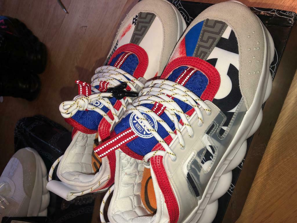 28ea23b29 VERSACE CHAIN REACTION TRAINERS, SIZE 9 - RED,WHITE & BLUE
