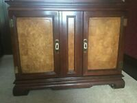 DINING TABLE & 8 CHAIRS, DISPLAY CABINET AND SERVER CABINET