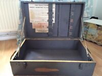 MILITARY NAVAL SOLID PINE TRUNK/CHEST ALL ORIGINAL LOCKS & HANDLES