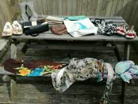 Selection of bags, slippers and scarves