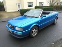 1998 Blue Audi 80 Cabriolet 1.8 with 1 Years MOT Rare Usable Classic Black Leather Electric Roof
