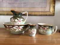Antique Washstand Jug & Bowl, Chamber Pot and Vase Set (circ 1900)