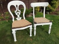 Retro, pair of wooden chairs, classic, antique, upcycle project, shabby chic