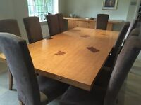 Beautiful Bespoke Wooden Dining Room Table, Chairs and Sideboard