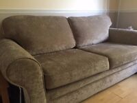 Mink Chenille 3 Seater Sofa Hardly Used Excellent Condition
