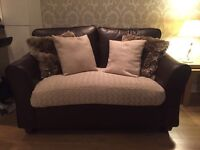 Marks and spencer 2 seater brown leather sofa