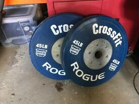 2x Olympic bumpers 20kg crossfit rouge
