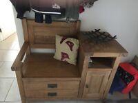 Oak telephone seat