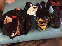 Lots of motorcycle equipment!! motocross, helmet, jacket ect