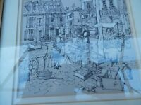 "Chris murray signed ink sketch entitled ""Au Marche"""