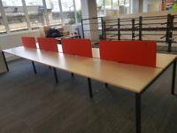 4 sets of Wood top 8-pod office/business bench hot desks/tables (120cm x 70cm each)