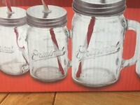 Mason style drinking jars with straws