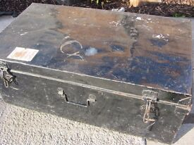VINTAGE METAL TRUNK - LABELLED 'LEICS MUSIC SOCIETY'