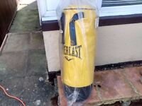 Everlast punch bag 18 kg 3ft as new with new wall hanger and door frame hanger.