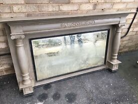OVERMANTEL MIRROR FIREPLACE EDWARDIAN SOLID MAHOGHANY PAINTED FRENCH GREY