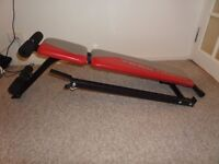 Foldable bench and over 100kg weights, 1 barbell, 2x 2 dumbbells)