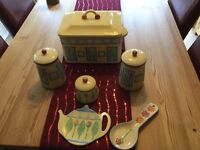 Kitchen containers now changed kitchen so wrong colours but lovely condition and very pretty