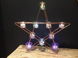 Copper rose gold star candle holder table decoration ornament