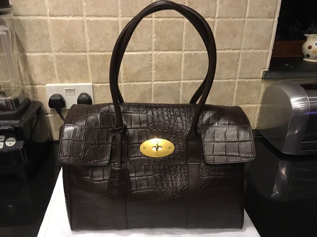 888e1d0f118e ... uk mulberry inspired bayswater in mock croc chocolate printed leather  7b9a1 afa69