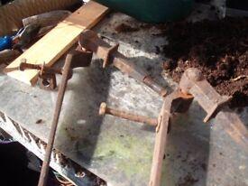 2 Large Vintage Steel Hinges (taken off of a old gate) Good Quality