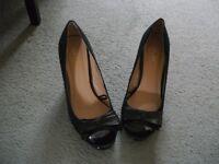 Ladies Peep Toe High Heels FIORE Black Suede Shoes - Size 4