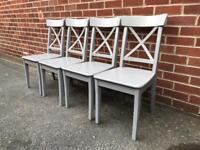 X4 Ikea Ingolf Grey Dining Chairs Wood RRP £160 Kitchen Scandinavian Style