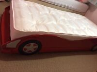 Childs Single Size Red Racing Car Bed with Mattress