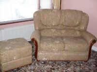 two seat sofa & two armchairs with footstool in oatmeal can be sold separately excellent condition