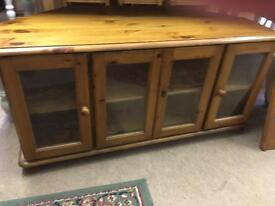 Solid Pine large corner tv stand cabinet