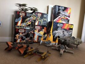 Collection of Star Wars figures vehicles books and memorabilia