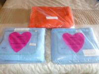 3 Double cellular blankets,(Brentford Nylons) 70x 90 x 1 orange. plus 2 NEW blue in original bags.