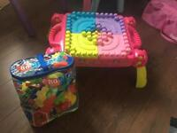 Mega blocs build and learn table & extra bag of blocks